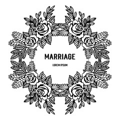 flowers border frame decoration with marriage text vector art