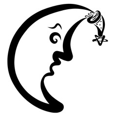 The moon in a hat with a star looks down from the sky