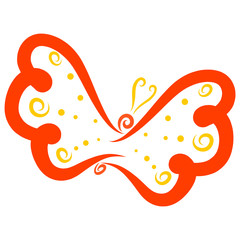 Graceful flying red butterfly with a yellow pattern