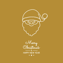 Design of Christmas greeting card with with hand drawn Santa Claus. Vector.