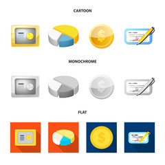 Isolated object of bank and money sign. Collection of bank and bill vector icon for stock.