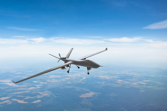 Unmanned aircraft patrol air sky at high altitude.