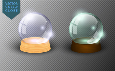 Vector snow globe empty template isolated on transparent background. Christmas magic ball. Glass ball dome, wooden stand. Realistic traditional winter holiday crystal, snow inside. Xmas toy sphere.