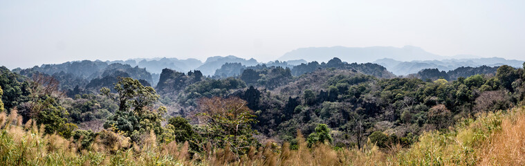 panorama of pointed rocks in Laos