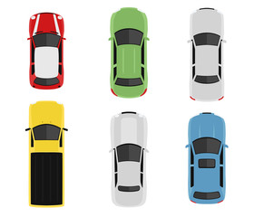 Papiers peints Cartoon voitures Transport set from above, top view. Cute cartoon cars with shadows. Modern urban civilian vehicles collection. Simple icon or logo. Realistic design. Flat style vector illustration.