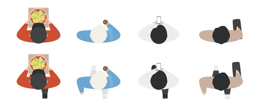 Top view of people set isolated on a white background. Men and women. View from above. Male and female characters with phone, pizza, bag, coffee. Simple cartoon design. Flat style vector illustration.