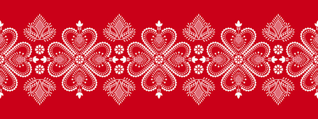 Folklore floral Nordic Scandinavian pattern vector. Ethnic border ornament with snowflakes, flowers and hearts. Finnish, Swedish and Norwegian embroidery style holiday decoration.