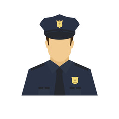 Policeman avatar icon. Profession logo. Male character. A man in professional clothes. People specialists. Flat simple vector illustration.