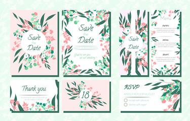 Invite Templates Set with Eucalyptus.