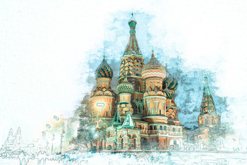 Fototapete - Stylized by watercolor sketch painting of  beautiful St. Basil Cathedral, Moscow, Russia on a textured paper. Retro style postcard.