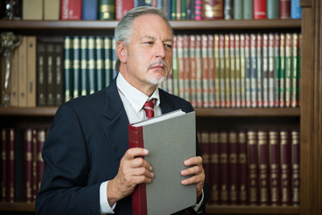 Businessman holding a book in a library