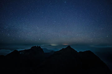 Night and galaxy landsape, Mountain landscape at night with milky way