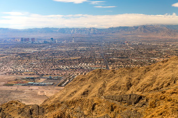 cityscape, travel and tourism - panorama of las vegas city in nevada