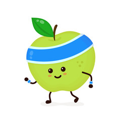 Cute smiling happy strong apple
