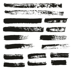 Paint Brush Thin Lines High Detail Abstract Vector Background Set 142