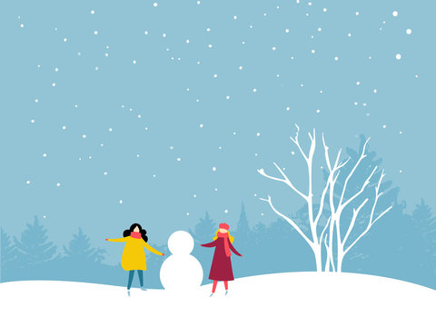 Two girls are building a snowman. Friends winter outdoor activity. Flat illustration