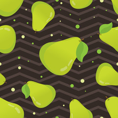 Cute seamless pattern with pear. Seamless pattern with pears and leaves. Vector background with pears