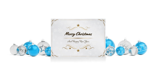 Christmas card greetings laying on isolated blue white baubles 3D rendering