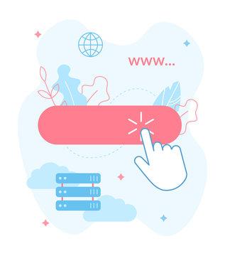 Publish your website on the Internet. Choose domain and hosting. Website builder concept. Web development. Flat vector illustration.