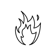 Flame fire sing. Thin line Vector illustration.