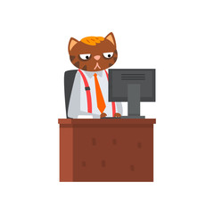 Businessman cat sitting at the desk and working at the computer, humanized animal cartoon character in a suit at work vector Illustration