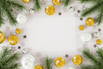 Christmas card mockup with golden baubles 3D rendering