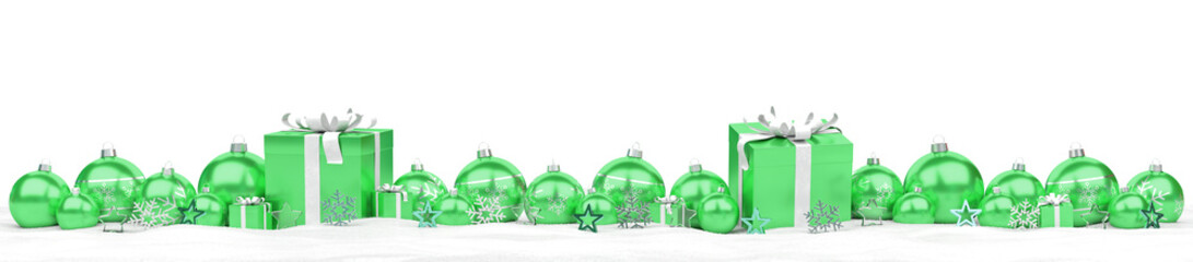 Green christmas baubles and gifts lined up 3D rendering