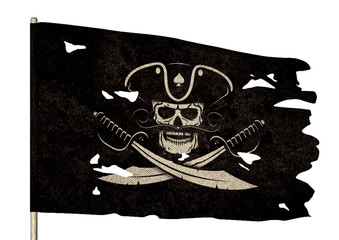 Waving torn pirate flag with a jolly roger - a skull and crossed sabers.