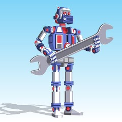 Realistic humanoid robot repairman with spanner in his hands. Pseudo 3d vector illustration.