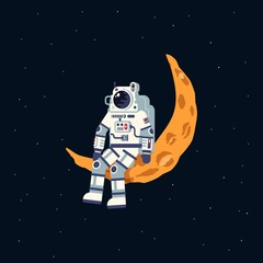 An astronaut in a spacesuit sits on the moon crescent. Vector flat illustration.