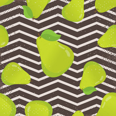 Seamless pattern with pears and leaves. Pretty graphic pears seamless pattern. Cute seamless pattern with pear. Vector background with pears
