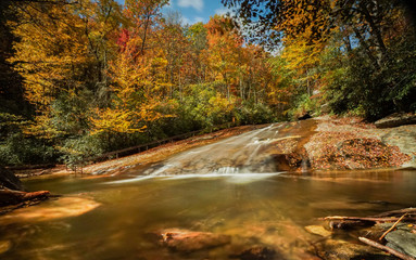 Wall Mural - Sliding Rock Falls in the Appalachians of North Carolina in late autumn with fall color foliage