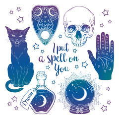 Magic set - planchette, skull, palmistry hand, crystal ball, bottle and black cat hand drawn art isolated. Ink style boho chic sticker, patch, flash tattoo or print design vector illustration.