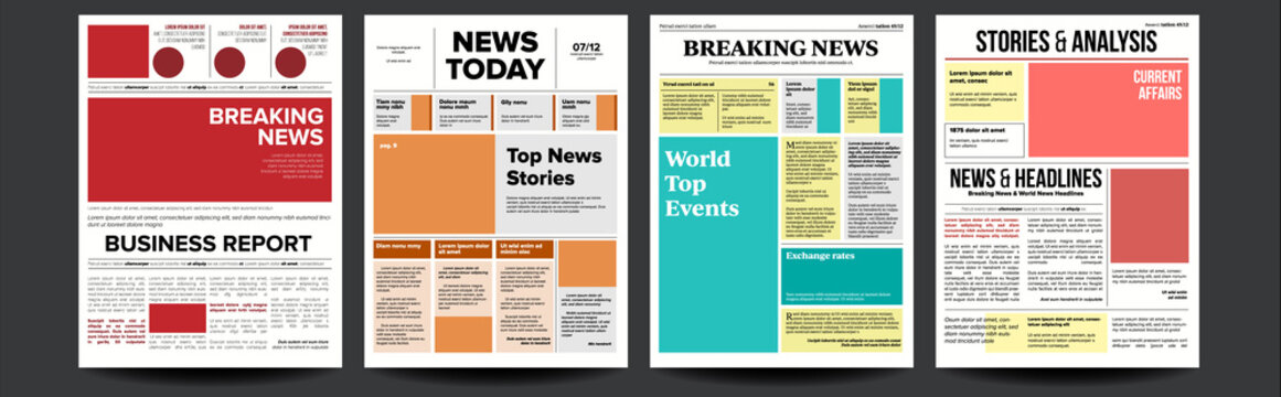 Newspaper Cover Set Vector. With Headline, Images, Page Articles. Newsprint, Reportage Information. Press Layout. Daily Journal Design. Financial News Articles, Advertising Business Information