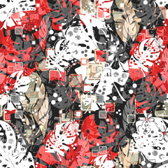 Seamless abstract tropical leaves jungle pattern