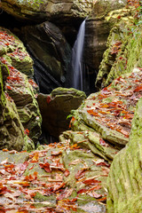 Wall Mural - Duggers Creek Falls  waterfall in a narrow rocky gorge in the North Carolina mountains in autumn near Linville