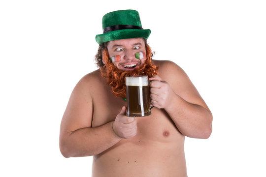 St.Patrick 's Day. Funny fat man.