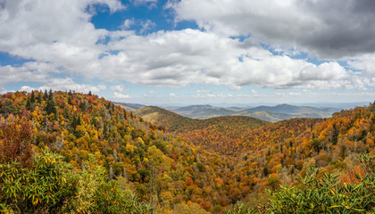 Wall Mural - Blue Ridge mountains in late autumn color panorama landscape on the Blue Ridge Parkway in North Carolina