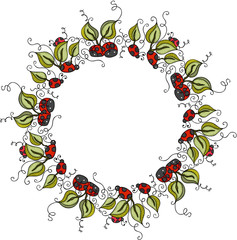 Circle border frame with green leaves and ladybugs