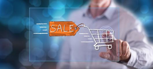 Man touching a sale concept