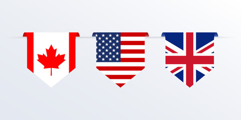 Flags of USA, UK and Canada ribbon or pennant. Hanging American, British and Canadian flags. Vector illustration.