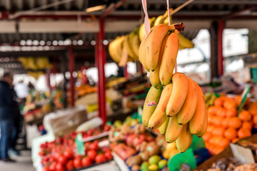 fruit market with bananas