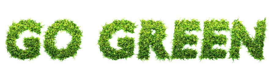 go green letters made of leaves 3D illustration