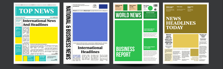Newspaper Cover Set Vector. Abstract News Template. Blank Page Spaces For Images. Breaking. Realistic Pages Template. Page Layout. Columns And Photos. Illustration