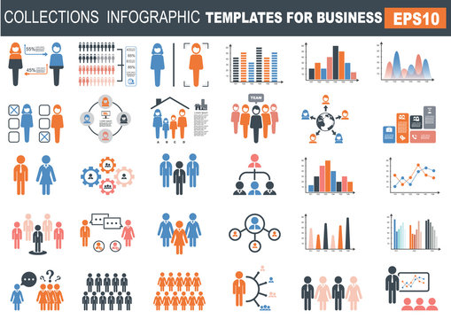 ollection of infographic people  elements for business.Vector illustration