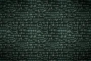 Basic math equations and formulas, white chalk lettering on school black chalkboard