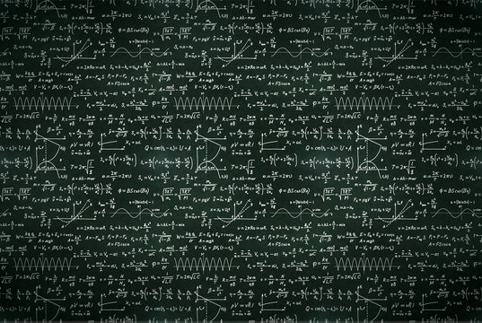 Basic math equations and formulas, white chalk lettering on school black chalkboard
