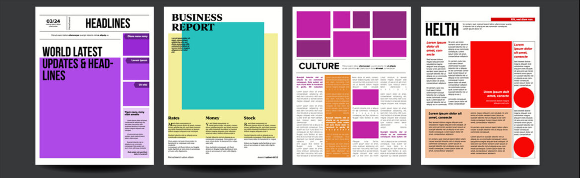 Newspaper Vector. With Headline, Images, News Page Articles. Newsprint, Reportage Information. Press Layout. Illustration