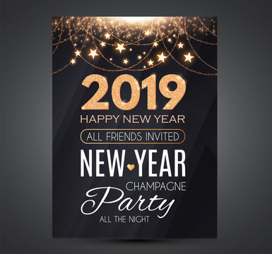 Happy New 2019 Year Party Poster Template with Light Effects, Stars and Place for Text.