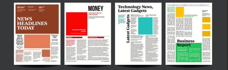 Newspaper Vector. With Text Article Column Design. Technology And Business News Article. Press Layout. Illustration